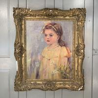 Antique oil painting portrait of young girl in ornate gesso frame signed William Patrick (2 of 8)