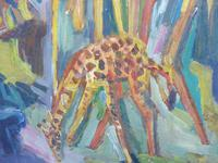 Large oil on board Giraffes in the park listed artist Henry Sanders (3 of 11)