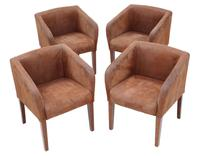 Set of 4  Brown Suede Leather Club Style Dining or Armchairs (3 of 8)