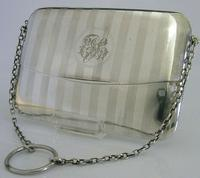 Novelty Sterling Silver Art Deco Card Case Sprung Envelope Style 1912 Antique