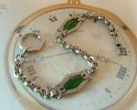Antique Pocket Watch Chain 1910 Art Nouveau Silver Chrome & Green Glass Albert (2 of 12)