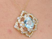 22.32ct Aquamarine, 7.62ct Diamond & 18ct Yellow Gold Pendant - Vintage c.1950 (9 of 9)