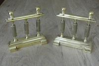 Quality Pair of Victorian William Tonks Brass Fire-dogs Fire Iron Rest Andirons c.1880