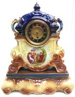 Antique 8-day Porcelain Mantel Clock Classical Blue & Earth Glazed French Mantle Clock (3 of 12)