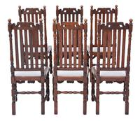 Set of 6 Oak Dining Chairs C1915 Charles II Style (2 of 5)