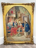 """Large Artwork Gilt Gesso Framed 19th Century Tapestry French Royal Court """"Playing Chess"""" (37 of 44)"""