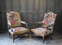 Pair of French Regence Carved Walnut Library Fauteuils (5 of 9)