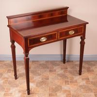 Edwardian Inlaid Mahogany 2 Drawer Side Table (7 of 15)