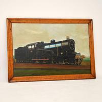 Antique Victorian Oil Painting Steam Locomotive Train (2 of 11)