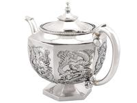 Chinese Export Silver Three Piece Tea Service - Antique c.1900 (6 of 12)