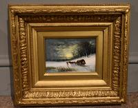"Oil painting Pair by Robert Finlay McIntyre ""Rabbits in a winter landscape"" and ""Trudging home through the snow"" (3 of 6)"