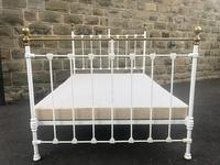 Antique Victorian Brass & Iron Double Bed (8 of 10)