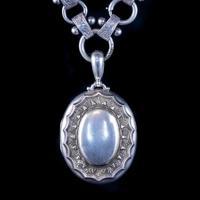 Antique Victorian Locket Collar Necklace Silver c.1880 (5 of 9)