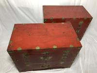 Pair of Late Qing Antique Chinese Dowry Marriage Wedding Brass Bound Red Lacquer Chests (24 of 54)