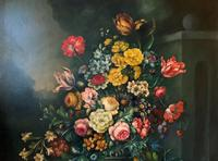 Dutch 18thc Manner RARE Huge Pair Vintage Fruit Floral Still Life Oil Paintings (19 of 23)