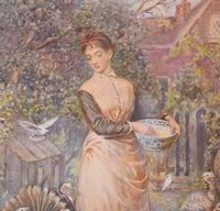 Superb Watercolour 'Feeding the Turkeys' by Robert Crozier (4 of 6)