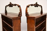 Pair of Antique Victorian Burr Walnut Mirrored Bookcases (10 of 13)