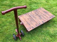 English Vintage Railway Willmot Trolley Oak Iron Plank Top Coffee Wheel Table (7 of 25)
