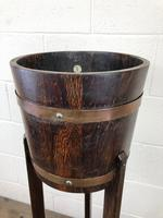Antique Oak Coopered Jardinière Stand by Lister & Co (4 of 7)