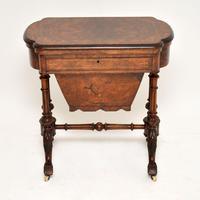 Antique Victorian Burr Walnut Games & Work Table (5 of 14)