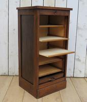 Oak Tambour Front Filing Bedside Cabinet (6 of 7)