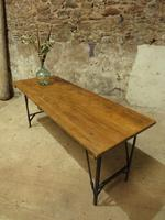Industrial Vintage Folding Trestle Dining Table with Metal Legs & Reclaimed Top (13 of 17)
