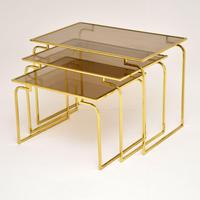1970's Vintage Italian Brass & Glass Nest of 3 Tables (6 of 10)