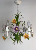 Vintage French 5 Arm Floral Toleware Chandelier (10 of 11)