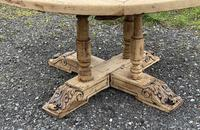 Large Round French Bleached Oak Farmhouse Table with Extensions (6 of 38)