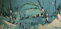George Richard Deakins Superb Winter Landscape Oil Painting (2 of 11)