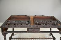 Antique Anglo Indian Carved Padouk Library Table (11 of 34)