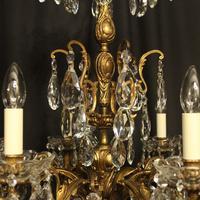 Italian Gilt Bronze & Crystal 6 Light Antique Chandelier (10 of 10)