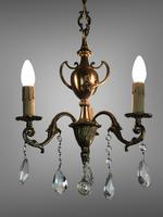 Gilt Bronze Chandelier 3 Arm Ceiling Light with Crystal Droplets (3 of 8)