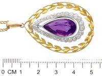 10.88ct Amethyst & 1.88ct Diamond, 18ct Yellow Gold Pendant - Antique c.1900 (6 of 9)