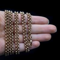 Antique Long Faceted Belcher Rolled Gold Guard Muff Chain Necklace (8 of 8)