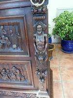Country Oak Court Cupboard 1800 Superb Carving (8 of 12)