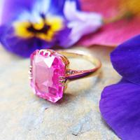 Art Deco 18ct Gold Synthetic Pink Sapphire Cocktail Ring (3 of 8)
