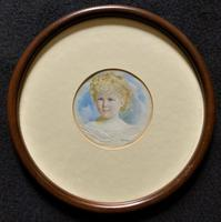 Albany E Howarth ARE Miniature Watercolour Portrait Painting of Little Girl (2 of 11)