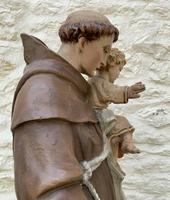 Exceptional Early 1900's Signed 39'' Carved Sculpture Statue St Anthony & Jesus (15 of 18)