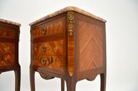 Pair of Antique French Inlaid Marble Top Bedside Chests (9 of 12)