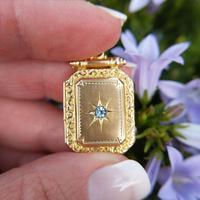 Antique Victorian 9ct Gold & Aquamarine Rectangular Locket Pendant (2 of 9)