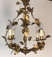 Antique French Birdcage Style Gilt Toleware Ceiling Light Chandelier With Roses (6 of 10)