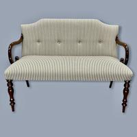 Buttoned Ticking Stripe Sofa & Footstool (6 of 11)