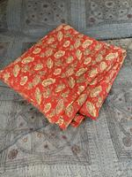 Antique French cotton double quilt eiderdown with red floral pattern (10 of 10)