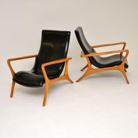 Pair of Vintage Leather Armchairs in the Manner of Vladimir Kagan (5 of 15)