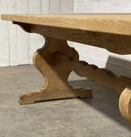 Bleached Oak French Trestle End Farmhouse Dining Table (10 of 28)