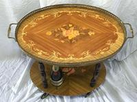 Italian Vintage 20th Century Marquetry Oval Champagne Drinks Server Trolley (5 of 14)