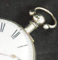 Antique Silver Pair Case Pocket Watch Fusee Verge Escapement Key Wind Enamel Dial Richardson London (13 of 13)