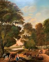Huge Fabulous 19thc Continental Farming Country Landscape Oil Painting (7 of 19)