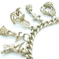 Vintage sterling silver English charm bracelet ~ 12 Charms & Heart padlock~ 50grams (3 of 8)